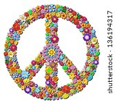 Peace Symbol Groovy Flowers Design - stock photo