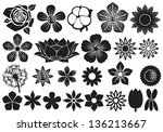 collection of flowers  lotus ... | Shutterstock . vector #136213667
