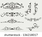 calligraphic design element and ... | Shutterstock . vector #136218017