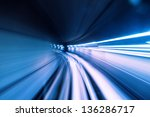 train moving fast in tunnel | Shutterstock . vector #136286717