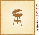silhouette of bbq on grunge...   Shutterstock .eps vector #136319903