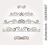 set of five calligraphic design ... | Shutterstock .eps vector #136354307