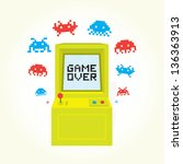 alien,arcade,art,background,bit,blue,button,cabinet,cartoon,childhood,coin,colorful,comic,computer,console