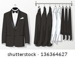 the suit for the man hangs on a ... | Shutterstock .eps vector #136364627
