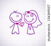hand drawn wedding couple on... | Shutterstock .eps vector #136369037