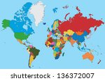 colorful map of world | Shutterstock .eps vector #136372007