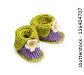 pair of handmade baby shoes ... | Shutterstock . vector #136404707