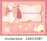 baby shower gift card with pink ... | Shutterstock .eps vector #136413587