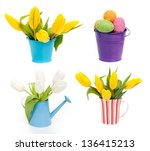 set of tulips and eggs in cup... | Shutterstock . vector #136415213