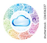 abstract concept of cloud... | Shutterstock .eps vector #136436237