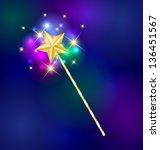 golden fairy tale magic wand... | Shutterstock .eps vector #136451567