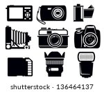vector black photo icons set on ... | Shutterstock .eps vector #136464137