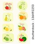 fruits labels set | Shutterstock .eps vector #136492253