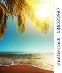 peaceful tropical beach at dusk | Shutterstock . vector #136525967