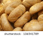 Pile of buns with sesame - stock photo