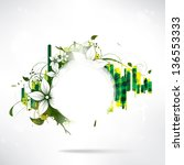 abstract floral background with ... | Shutterstock . vector #136553333