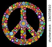 Peace Symbol Groovy Flowers Art Design - stock photo