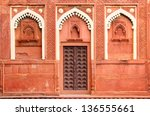 building fragment with door in red fort Agra India - stock photo