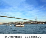 bridge over the Bosphorus Strait in Istanbul Turkey - stock photo