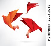 origami paper bird on abstract... | Shutterstock . vector #136560353