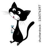 illustration of a black cat | Shutterstock . vector #136576397