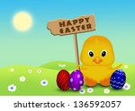 cute easter illustration ... | Shutterstock . vector #136592057