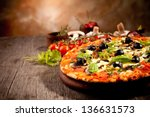 Delicious Fresh Pizza Served O...
