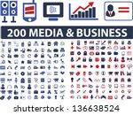 200 media, business, website, communication, design, internet icons, signs, symbols set, vector - stock vector