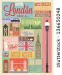 Typographical Retro Style Poster With London Symbols And Landmarks - stock vector