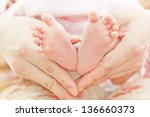 feet of newborn baby in mothers ... | Shutterstock . vector #136660373