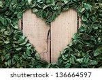 Heart Frame Made Of Leaves On...