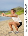 fitness man training air squat... | Shutterstock . vector #136700603