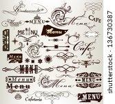 vector set of calligraphic... | Shutterstock .eps vector #136730387