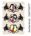 coat of arms with the dragon  6 ... | Shutterstock .eps vector #136731077