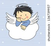 angel wings on a cloud.... | Shutterstock .eps vector #136739957