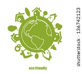 vector eco green planet. | Shutterstock .eps vector #136742123