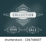 vector vintage summer sale sign ... | Shutterstock .eps vector #136768607