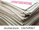 heap of confidential documents of role - stock photo
