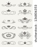 victorian scrolls and crown.... | Shutterstock .eps vector #136806353