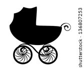 Isolated Black Baby Carriage...