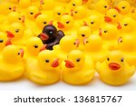 yellow ducks of gum and black - stock photo