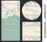 set of wedding invitation cards. | Shutterstock .eps vector #136863167