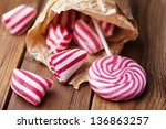 traditional striped peppermint... | Shutterstock . vector #136863257