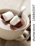 hot chocolate with marshmallows | Shutterstock . vector #136863347