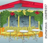 sketch of the parisian cafe... | Shutterstock . vector #136898357