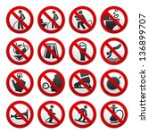 prohibited signs  vector... | Shutterstock .eps vector #136899707