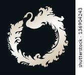 ornamental frame with swan | Shutterstock .eps vector #136904243