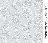 abstract floral swirls  grey... | Shutterstock .eps vector #136910177