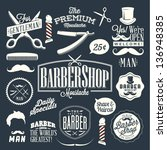 Set of vintage barber shop labels, graphics and icons - stock vector