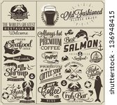 Collection of retro vintage style restaurant menu designs. Set of Calligraphic titles and symbols for restaurant design. Hand lettering typographic menu design. Easy editable - stock vector